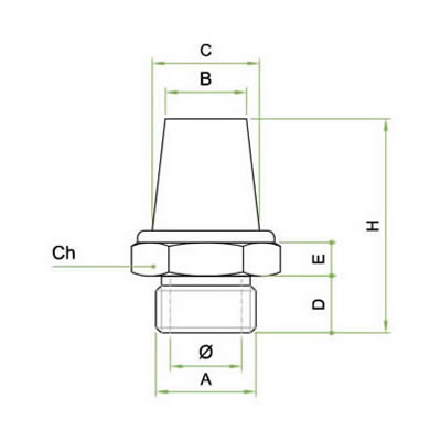 Silenziatore a cono in acciaio inox AISI 316L sinterizzato su base esagonale in acciaio inox AISI 316L